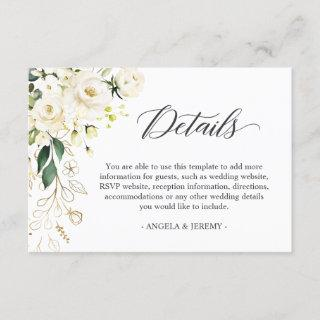 White Rose Green Floral Wedding Reception Details Enclosure Card