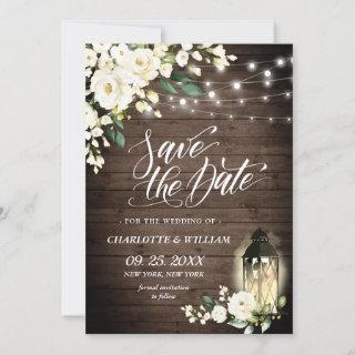 White Rose Lantern Rustic Wood Wedding Save The Date