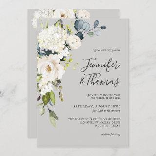 White Roses and Hydrangea Elegant Floral Wedding Invitation