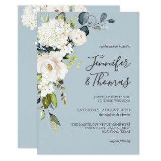 White Roses and Hydrangea on Blue Floral Wedding Invitations