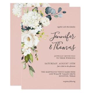 White Roses and Hydrangea on Pink Floral Wedding Invitations