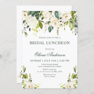 White Roses Floral  Watercolor BRIDAL LUNCHEON Invitations
