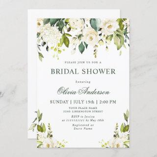 White Roses Floral  Watercolor BRIDAL SHOWER Invitation