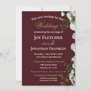White Roses Red Background Wedding Invitation