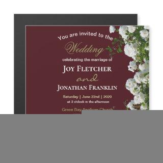 White Roses Red Background Wedding Invitations