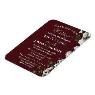 White Roses Red Background Wedding Invitations Magnet