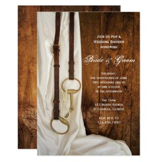 White Satin and Horse Bit Western Wedding Shower Invitation