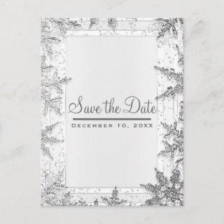 White & Silver Winter Snowflakes Save the Date Announcement Postcard
