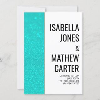 White teal glitter gold modern typography wedding Invitations