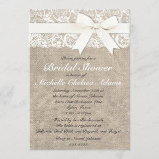 White Vintage Lace Burlap Bridal Shower Invitations