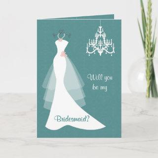 White wedding gown chandelier on teal  Bridesmaid Invitation