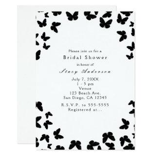 White with Black Butterflies Party Invitations