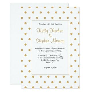 White with gold polka dots Invitations