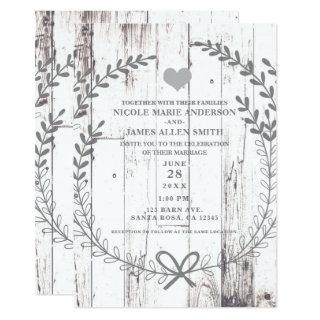 White Wood Rustic Farmhouse Country Wedding Invitation