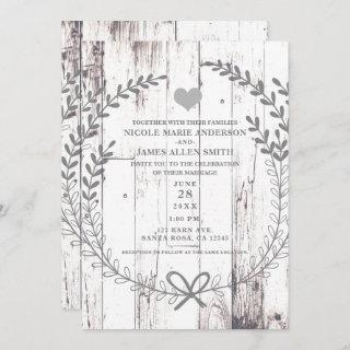 White Wood Rustic Farmhouse Country Wedding Invitations