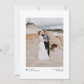 WIe Eloped Modern Minimalist Black Photo Wedding Announcement