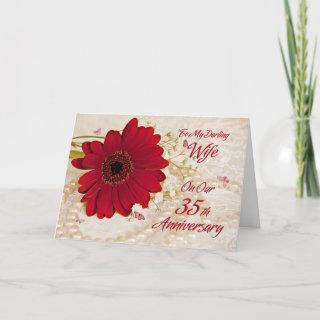 Wife on 35th wedding anniversary, a daisy flower card