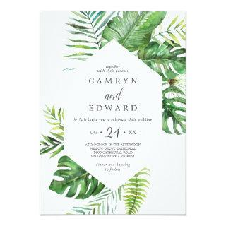 Wild Tropical Palm All In One Wedding Invitations
