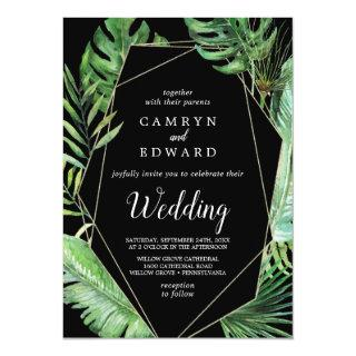 Wild Tropical Palm | Black Geometric Wedding Invitations