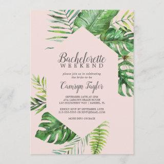 Wild Tropical Palm | Blush Bachelorette Weekend Invitation