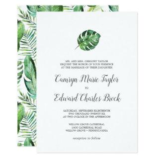 Wild Tropical Palm Formal Wedding Invitation