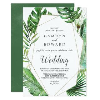 Wild Tropical Palm Geometric All In One Wedding Invitation