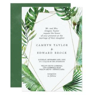 Wild Tropical Palm Geometric Formal Wedding Invitations