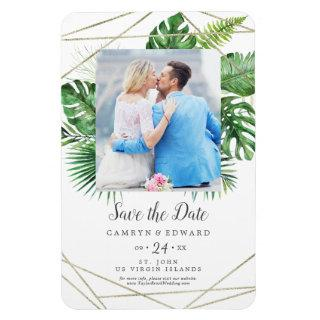Wild Tropical Palm Geometric Photo Save the Date Magnet
