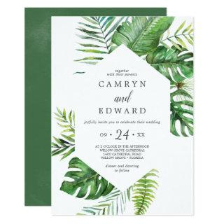 Wild Tropical Palm Hexagon Casual Wedding Invitations