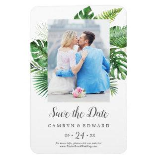 Wild Tropical Palm Photo Save the Date Magnet