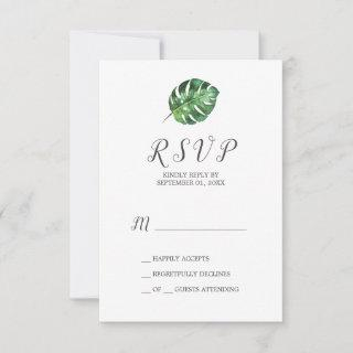 Wild Tropical Palm Simple RSVP Card