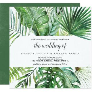 Wild Tropical Palm The Wedding Of Square Wedding Invitations