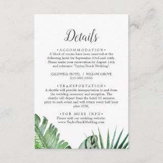 Wild Tropical Palm Wedding Details Enclosure Card