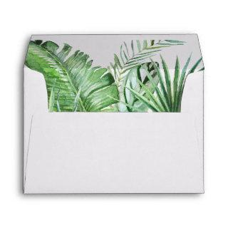 Wild Tropical Palm | White Wedding Invitations Envelope