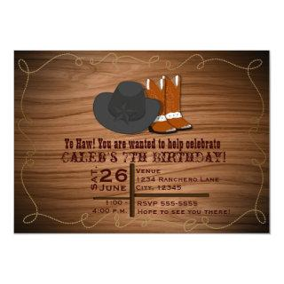 Wild Western Country Rope Boots & Hat Invitations