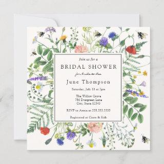 Wildflower Fields and Buzzing Bees Bridal Shower Invitations