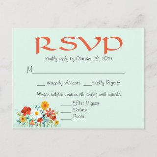 Wildflower Mint Floral Wedding RSVP Response Invitations Postcard