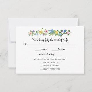 Wildflowers RSVP with Menu Selection Response Card