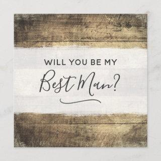 Will You Be My Best Man Rustic Wood Farm Wedding Invitations