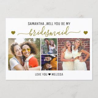 Will You Be My Bridesmaid 4 Photo Collage Invitation