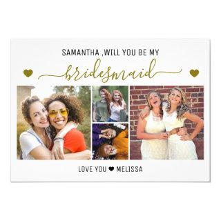 Will You Be My Bridesmaid 4 Photo Collage Invitations