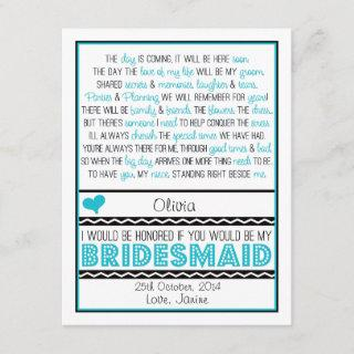 Will you be my Bridesmaid? Blue/Black Poem NIECE