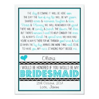 Will you be my Bridesmaid? Blue/Black Poem NIECE Invitation