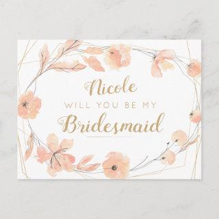 Will You Be My Bridesmaid Blush Blooms Watercolor Invitations Postcard