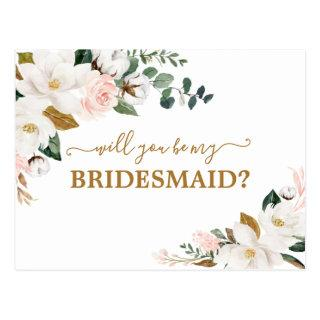 Will You Be My Bridesmaid Blush Pink Floral Gold Postcard
