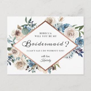 Will You Be My Bridesmaid Boho Dusty Blue Floral Invitations Postcard