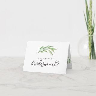 Will You Be My Bridesmaid Botanical Leaves Invitation
