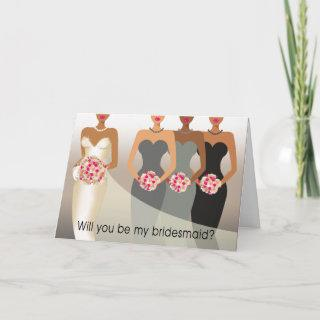 Will you be my Bridesmaid? Bridal Party   charcoal Invitations