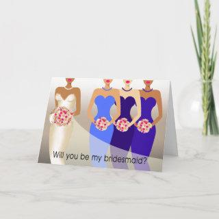 Will you be my Bridesmaid? Bridal Party   cobalt Invitation