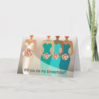 Will you be my Bridesmaid? Bridal Party | teal Invitations